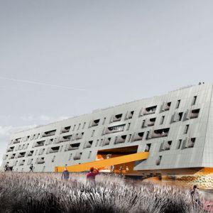 Idea to projekt budynku mieszkalnego w Kielcach będącego alternatywą dla taśmowej produkcji mieszkań, sprzyjającego budowie więzi społecznych. Fot. UGO Architecture