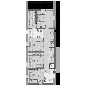 Rzut poddasza Podasze: 86,78 m² 1 korytarz 14,33 m² 2 pokój 14,33 m² 3 łazienka 6,85 m² 4 garderoba 5,92 m² 5 pokój 11,41 m² 6 pokój 11,41 m² 7 pokój 11,41 m² 8 łazienka 6,7 m² 9 pom. gospodarcze 4,42 m²