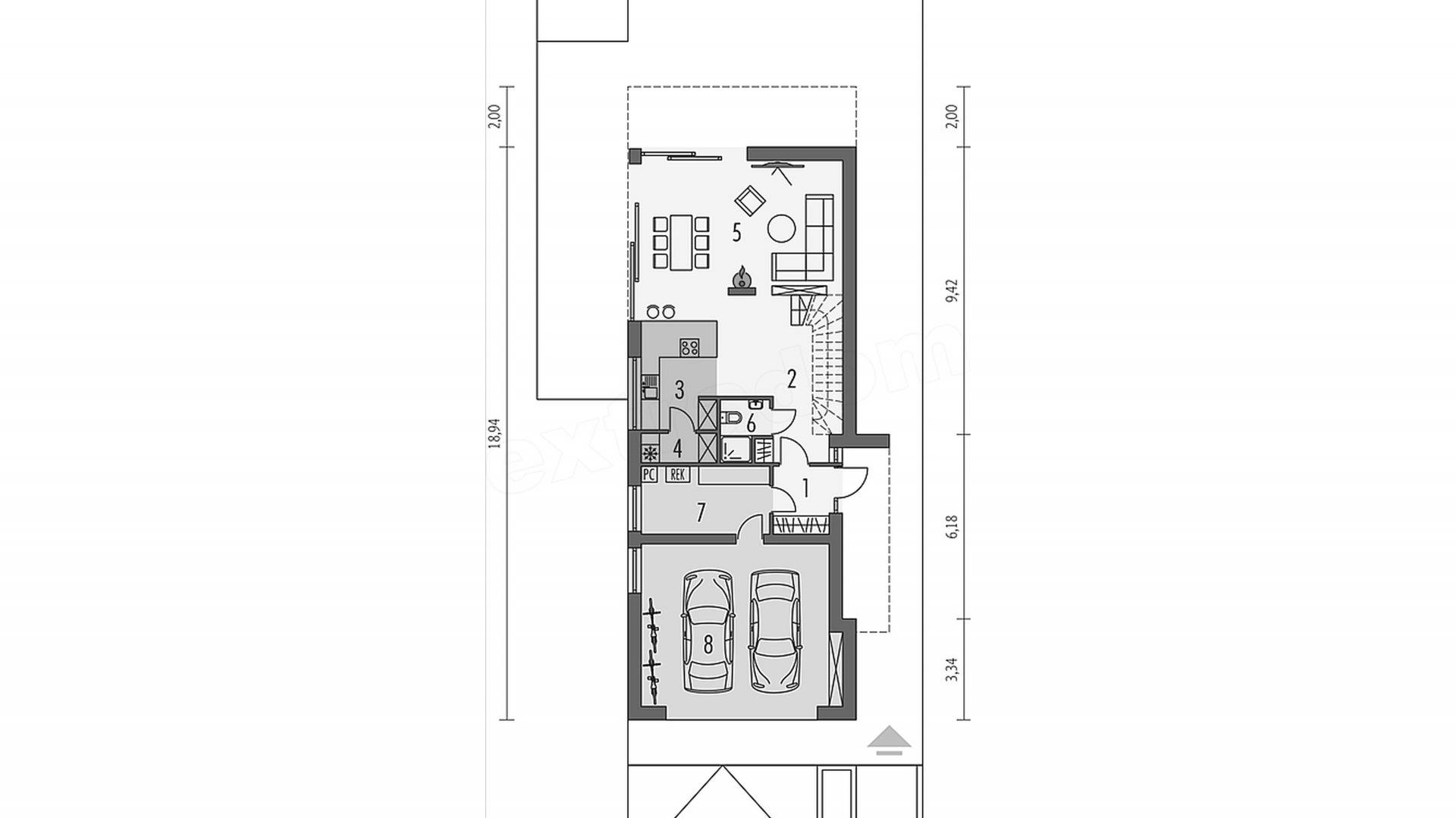 Rzut parteru. Parter: 111,81 m² 1 wiatrołap 4,06 m² 2 hall + schody 12,66 m² 3 kuchnia 13,42 m² 4 spiżarnia 2,31 m² 5 pokój dzienny 32,95 m² 6 łazienka 2,81 m² 7 pom. gospodarcze 9,37 m² 8 garaż dwustan. 34,23 m²