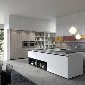 Kuchnia LAB 13 to nowoczesna interpretacja kuchni typu U z wysoką zabudową na jednej ze ścian, która pozwala na optymalne wykorzystanie dostępnego miejsca. Dostępna w ofercie firmy Aran Cucine. Fot. Aran Cucine