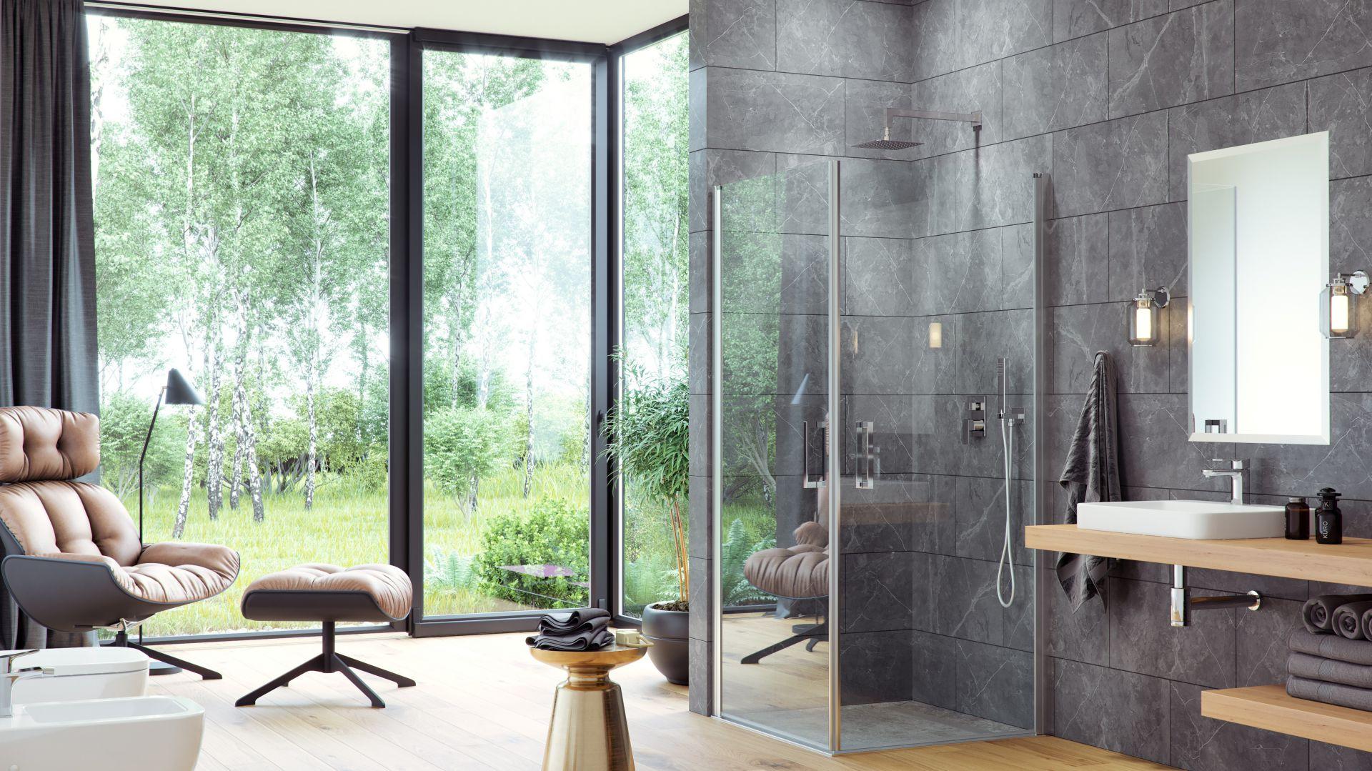 Kwadratowa, dwudrzwiowa kabina prysznicowa z serii Mazo z drzwiami uchylanymi do wewnątrz i na zewnątrz. Excellent,