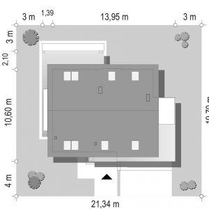 Usytuowanie domu na działce. Dom Albatros 2. Projekt: arch. Michał Gąsiorowski. Fot. MG Projekt