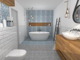 Eklektyczna łazienka z dodatkiem niebieskiego patchworku.