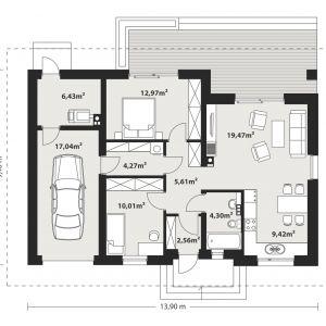 PARTER: 75,04 m2 1. wiatrołap – 2,56 m2 2. hol – 5,61 m2 3. łazienka -4,30 m2  4. salon – 19,47 m2 5. kuchnia – 9,42 m2 6. pokój – 10,01 m2 7. korytarz – 4,27 m2 8. pokój – 12,97 m2 9. pom. gospodarcze – 6,43 m2 10. garaż* – 17,04 m2 *pomieszczenia niewliczone do powierzchni użytkowej