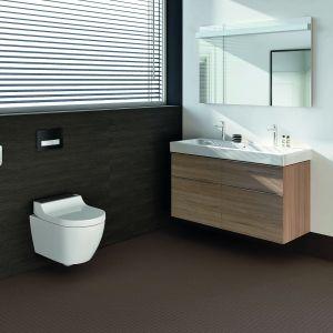 Toaletą myjącą AquaClean Tuma można sterować na trzy różne sposoby: za pomocą panelu ściennego, poręcznego pilota lub aplikacji na smartfona. Fot. Geberit