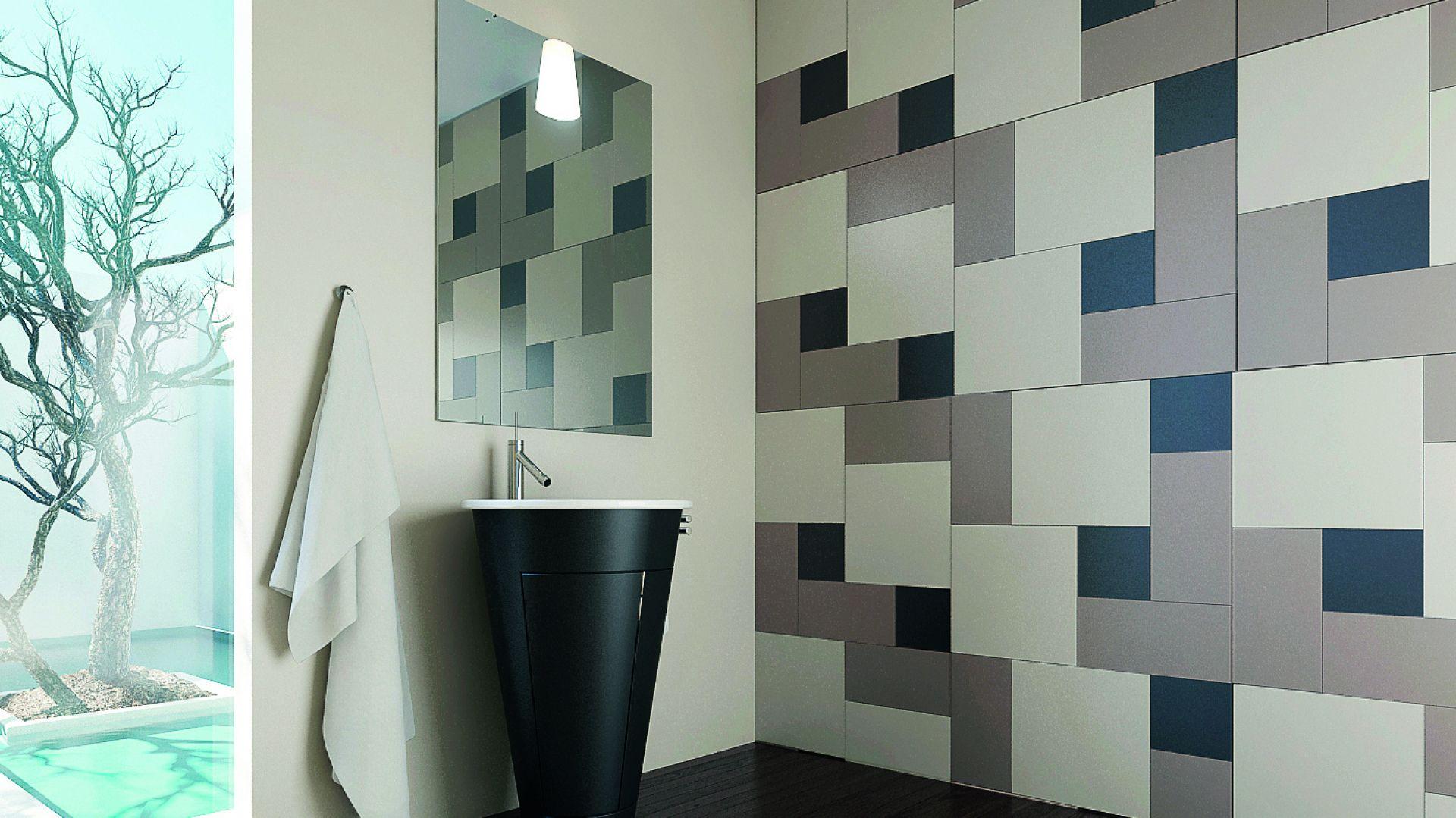 Szkło w łazience może przyjmować różne postaci – na przykład szklanych, matowych płytek na ścianie z kolekcji Colorimo Forma w satynowym wykończeniu. Fot. Mochnik