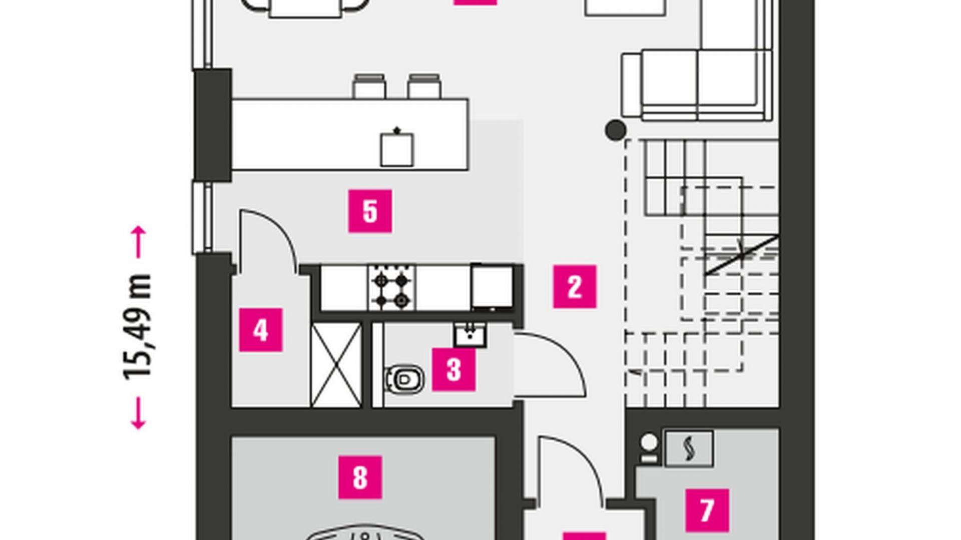 PARTER: 52,80 m2 1. wiatrołap – 5,20 m2 2. komunikacja – 8,40 m2 3. wc – 1,90 m2 4. pom. pomocnicze/spiżarnia – 2,30 m2 5. kuchnia – 6,90 m2 6. pokój dzienny + jadalnia – 28,10 m2 7. pom. pomocnicze/kotłownia* – 2,80 m2 8. garaż* – 19,70 m2