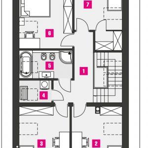PODDASZE: 61,00 m2(79,20 m2) 1. komunikacja – 8,00 m2 (8,00 m2) 2. sypialnia – 11,90 m2 (15,80 m2) 3. sypialnia – 12,10 m2 (16,00 m2) 4. pom. pomocnicze/pralnia – 2,00 m2 (3,20 m2) 5. łazienka – 5,10 m2 (6,70 m2) 6. sypialnia – 12,50 m2 (16,30 m2) 7. sypialnia – 9,40 m2 (13,20 m2) *pomieszczenia niewliczone do powierzchni użytkowej