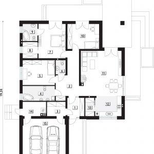 PARTER: 139,03 m2  1. wiatrołap – 5,47 m2  2. korytarz/komunikacja – 14,35 m2  3. pom. gospodarcze – 4,38 m2  4. łazienka – 8,45 m2  5. sypialnia – 14,20 m2  6. wc – 2,42 m2  7. sypialnia – 16,53 m2  8. garderoba – 4,25 m2  9. łazienka – 4,47 m2  10. sypialnia – 14,08 m2  11. salon/jadalnia – 32,90 m2  12. kuchnia – 9,43 m2  13. spiżarnia – 2,84 m2  14. kotłownia – 5,26 m2  15. garaż* – 32,09 m2  *pomieszczenia niewliczone do powierzchni użytkowej