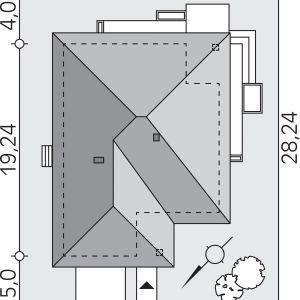 Usytuowanie domu na działce. Dom Ariel 4. Projekt: arch. Tomasz Sobieszuk. Fot. Domy w Stylu