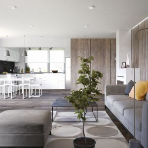 Salon jest delikatnie odseparowany od kuchni przestrzenią jadalni. Dom Ariel 4. Projekt: arch. Tomasz Sobieszuk. Fot. Domy w Stylu