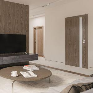 Drzwi z wypełnieniem w postaci płyty wiórowej charakteryzują dobre właściwości wygłuszające, dlatego sprawdzą się w sypialni czy w gabinecie. Fot. Porta Drzwi
