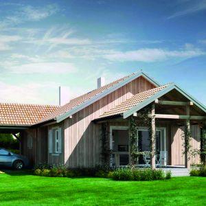 N14d – drewniany to dom parterowy bez piwnic i bez poddasza. Przeznaczony dla 4-osobowej rodziny. Projekt: arch. Sylwia Strzelecka. Fot. S&O Projekty Sylwii Strzeleckiej