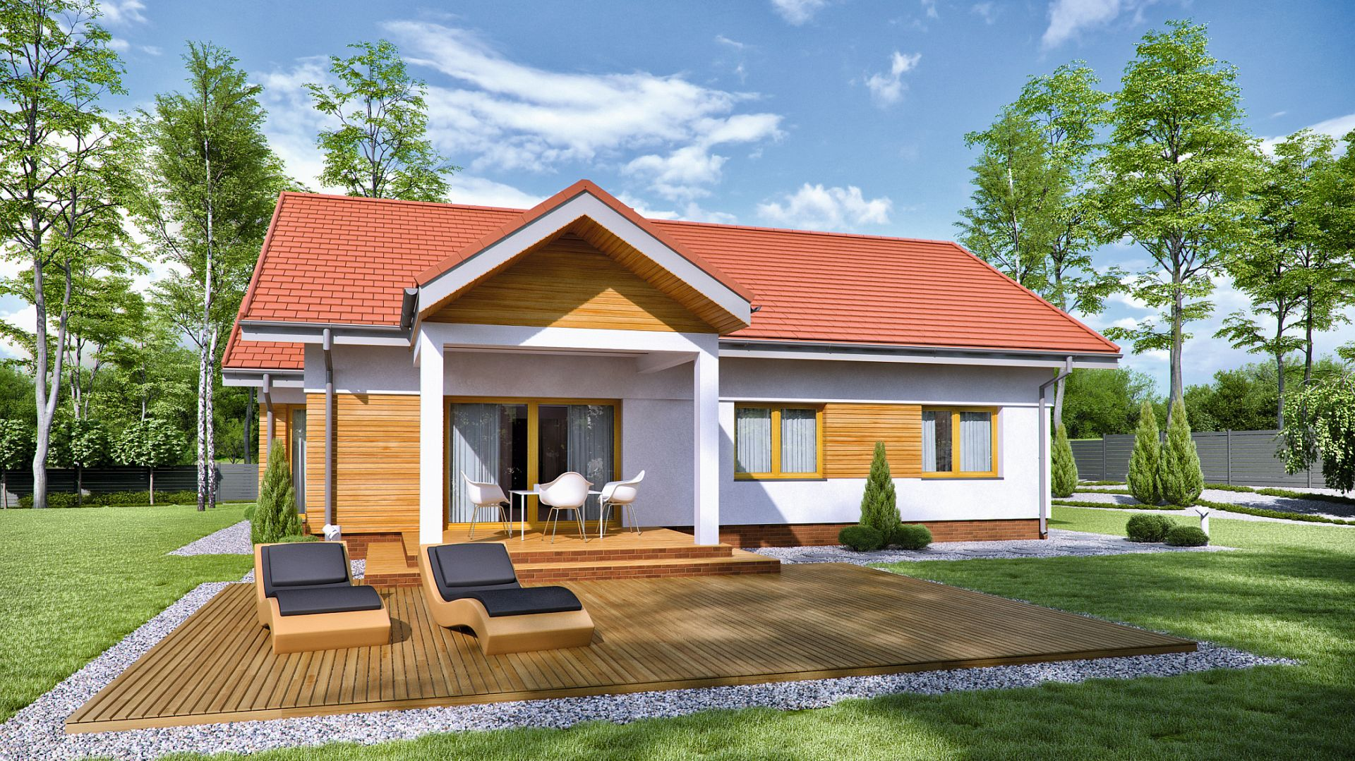 TK201G to dom parterowy dla 4-osobowej rodziny. Na 103 mkw powierzchni mieszczą się pokoje dla dzieci, wygodna sypialnia dla rodziców oraz ponad 20-metrowy wygodny salon z kominkiem. Projekt: arch. Tomasz Kałaska. Fot. Architeka Tomasz Kałaska