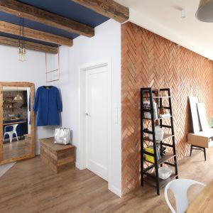 Modna cegła - pomysł na ściany w salonie. Projekt: Anna Krzak. Fot. Bartosz Jarosz