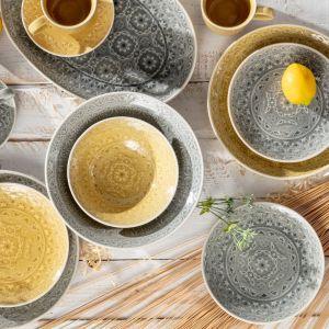 Porcelana Yellow Amber, porcelana Grey Stone. Fot. Dekoria.pl