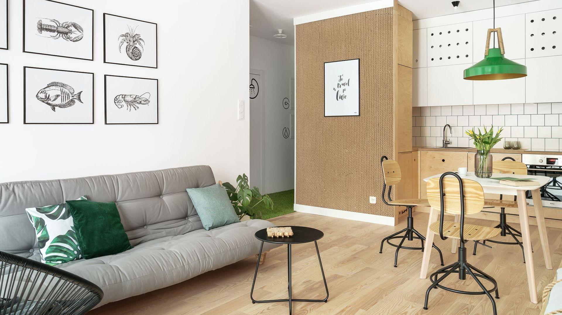Eko design - zielone dodatki świetnie dopełniają wnętrze. Projekt: Maka Studio (Daria Pawlaczyk, Aleksandra Kurc). Fot. Tom Kurek