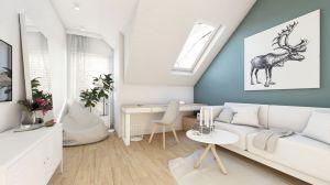 Zaprojektowany w skandynawskim klimacie dom o powierzchni 135 m kw. daje poczucie przytulności i komfortu. We wnętrzach dominuje jasne drewno, biel i odcienie szarości. Projekt i wizualizacja: Natalia Robaszkiewicz (Boske Art)