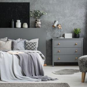 Total look w sypialni - przytulne wnętrze w odcieniach szarości. Fot. Polifarb Kalisz