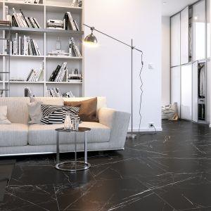 Inspirowane marmurem płytki Marquina marki Opoczno to propozycja do eleganckich i nowoczesnych przestrzeni. Ciemnoszary wzór płytek z niezwykle naturalnym, jasnym użyleniem nada wnętrzom klasy i szlachetności. Cena: 99,99 zł/m2. Fot. Opoczno