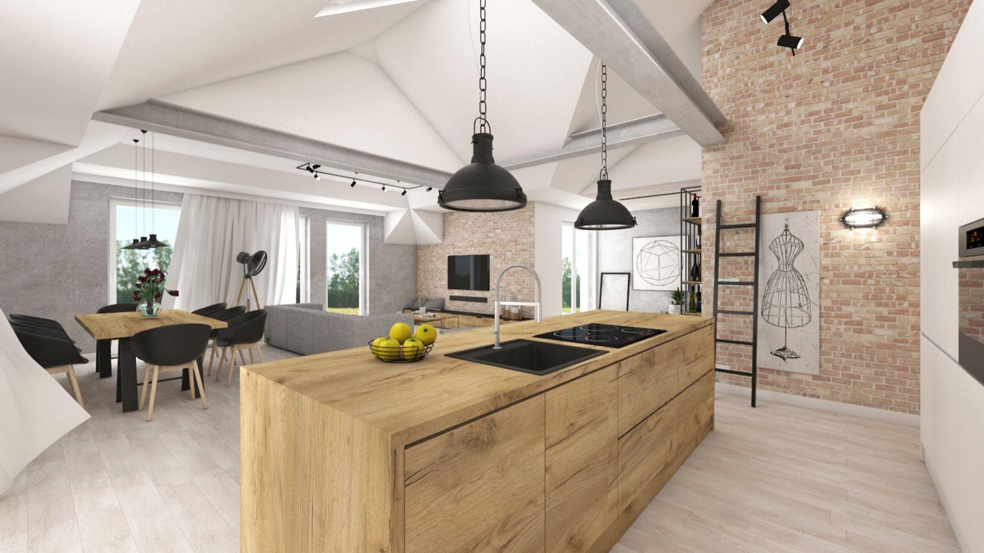 Cegła, naturalne drewno, widoczne elementy konstrukcyjne - surowa przestrzeń sprzyja wyciszeniu i jest bardzo funkcjonalna. Projekt i zdjęcie: Natalia Robaszkiewicz (Boske Art)