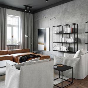 Spękany beton na ścianie doskonale wpisuje się w klimat surowego, industrialnego wnętrza. Projekt i zdjęcia: Studio.O. organic design