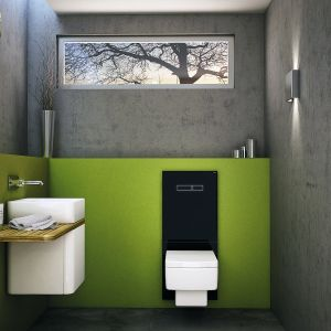 Wielofunkcyjny terminal WC TECElux zbudowany ze stelaża oraz dolnej i górnej szklanej obudowy, spłukiwanie bezdotykowe, system oczyszczania powietrza, możliwość zmiany wysokości ceramiki. W  wersji czarnej lub białej. Cena: od 3.506 zł. Fot. Tece