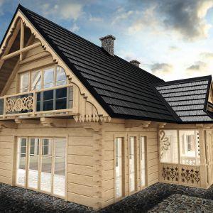 Stalowy gont blaszany Janosik to pokrycie dachowe, którego kształt, tekstura i kompozycja odwzorowują wiernie gont drewniany. Fot. Blachotrapez