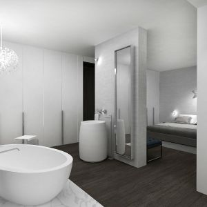 Dom w Piasecznie - łazienka przy głównej sypialni. Projekt i zdjęcia: Wyrzykowski Studio