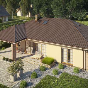 Dom mieszkalny o pow. użytkowej 95,10 m2, jednorodzinny parterowy zpoddaszem użytkowym. Idealny dla 4-5-osobowej rodziny. Prosta bryła budynku oraz nieskomplikowana konstrukcja wpływają na niższe koszty budowy. Bardzo funkcjonalny podział pomieszczeń zoddzielną strefą techniczną, strefą dzienną inocną. Atutem tego projektu jest również nowoczesny wygląd elewacji. Dom D 158. Projekt: arch. Krzysztof Wolski. Fot. ARTINEX ARCHITEKTURA, WNĘTRZA Projekty iRealizacje