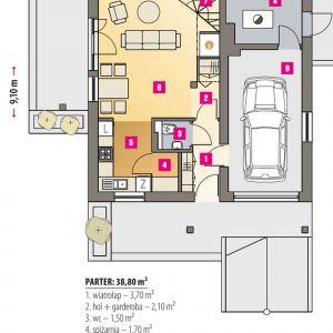 PARTER: 38,80 m2 1. wiatrołap – 3,70 m2 2. hol + garderoba – 2,10 m2 3. wc – 1,50 m2 4. spiżarnia – 1,70 m2 5. kuchnia – 5,80 m2 6. salon – 20,10 m2 7. schody – 3,90 m2 8. pom. techniczne* – 6,50 m2 9. garaż* – 20,10 m2