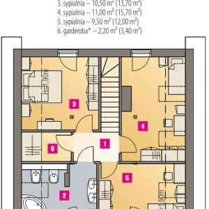 PODDASZE: 41,80 m2 (54,70 m2) 1. przedpokój – 3,20 m2 2. łazienka – 7,60 m2 (10,10 m2) 3. sypialnia – 10,50 m2 (13,00 m2) 4. sypialnia – 11,00 m2 (15,70 m2) 5. sypialnia – 9,50 m2 (12,00 m2) 6. garderoba* – 2,20 m2 (3,40 m2)
