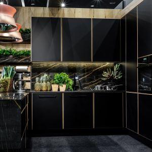 Elegancka kuchnia w czerni. Projekt: A&K Kuchnie. Fot. Adam Pietrusiak