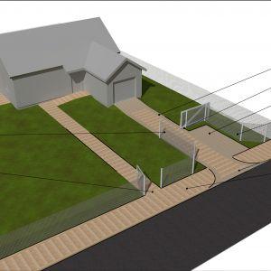 Wejście i wjazd na posesję. Wariant pośredni, czyli ogrodzenie w linii chodnika, ale brama wjazdowa znacznie cofnięta w głąb działki. Dzięki takiemu rozwiązaniu jest możliwość zastosowania wąskiej bramy i niewielkiej szerokości podjazdu (2,5m), uzyskując jednocześnie dodatkowe miejsce parkingowe dla gości przed ogrodzeniem. Rys. Buszrem