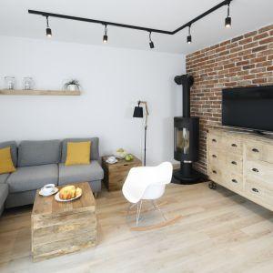 Telewizor w salonie - pomysł na ścianę. Projekt: Katarzyna Uszok. Fot. Bartosz Jarosz