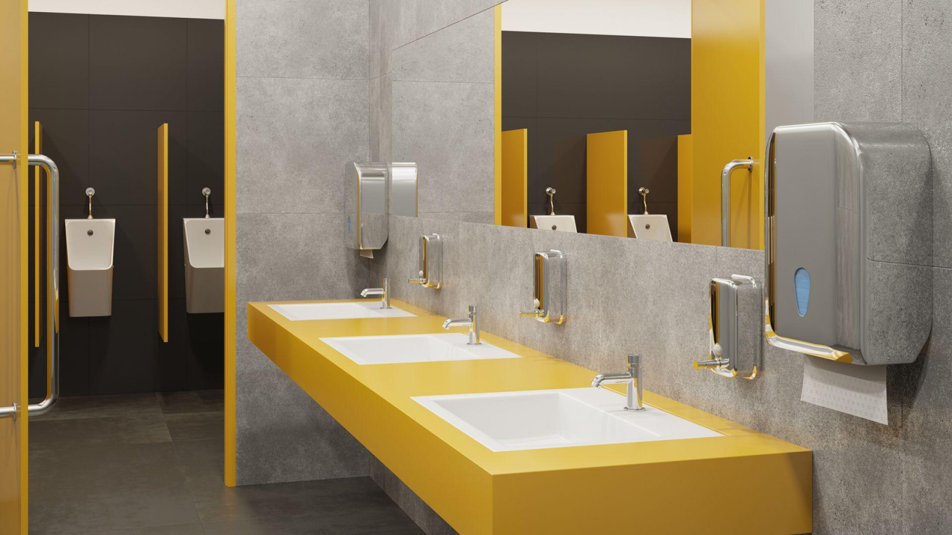 Aranżacja łazienki w przestrzeni publicznej - bateria umywalkowa czasowa z regulacją wypływu do wody zimnej lub zmieszanej. Fot. Ferro