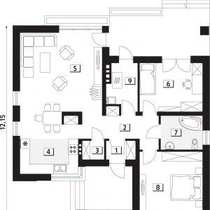 PARTER: 88,00 m2 1. wiatrołap – 2,20 m2 2. hol – 8,20 m2 3. spiżarnia – 1,60 m2 4. kuchnia – 13,20 m2 5. salon/jadalnia – 25,10 m2 6. sypialnia – 12,00 m2 7. łazienka – 5,70 m2 8. sypialnia – 14,40 m2 9. kotłownia – 5,60 m2