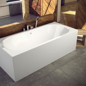 Prostokątna wanna Vitae z akrylu sanitarnego o nowoczesnym, geometrycznym kształcie. Dostępna w ofercie firmy Besco. Fot. Besco