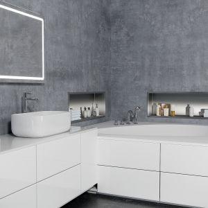 Pojemniki łazienkowe na szczotkę WC i papier toaletowy to sprytne rozwiązanie tworzące dodatkową przestrzeń we wnęce, idealne w przypadku łazienek o mniejszym metrażu. Dostępne w ofercie firmy MCJ. Fot. MCJ