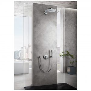 Podtynkowy zestaw prysznicowy z serii Atrio wyróżnia elegancka, cylindryczna i minimalistyczna forma. Dostępny w ofercie firmy Grohe. Fot. Grohe