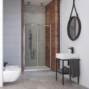 Lustro w czarnej ramie do minimalistycznej łazienki. Fot. Deante