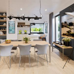 Jadalnia płynnie łączy się z kuchnią. Dominuje tu biel, drewno i szarości. Dom Daniel VI G2 . Projekt: arch. Artur Wójciak. Fot. Pracownia Projektowa Archipelag