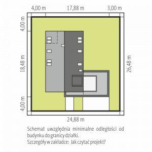 Usytuowanie domu na działce. Dom Daniel VI G2 . Projekt: arch. Artur Wójciak. Fot. Pracownia Projektowa Archipelag
