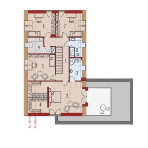 Rzut poddasza. 1. Korytarz 12.69 m²2. Sypialnia 27.08 m²3. Łazienka 4.68 m²4. Garderoba 12.15 m²5. Sypialnia 15.41 m²6. Sypialnia 13.20 m²7. Sypialnia 13.46 m²8. Łazienka 4.09 m²9. Pralnia 6.44 m² Dom Daniel VI G2 . Projekt: arch. Artur Wójciak. Fot. Pracownia Projektowa Archipelag