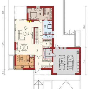 Rzut parteru. 1. Wiatrołap 10.90 m²2. Hol8.62 m²3. Kuchnia 12.13 m²4. Spiżarnia 3.02 m²5. Jadalnia 14.81 m²6. Pokój dzienny 29.76 m²7. Garderoba 5.31 m²8. Toaleta 2.78 m²9. Korytarz + schody13.63 m²10. Sypialnia 12.41 m²11. Łazienka 8.48 m²12. Garderoba 7.17 m²13. Kotłownia 6.47 m²14. Garaż45.12 m²  Dom Daniel VI G2 . Projekt: arch. Artur Wójciak. Fot. Pracownia Projektowa Archipelag