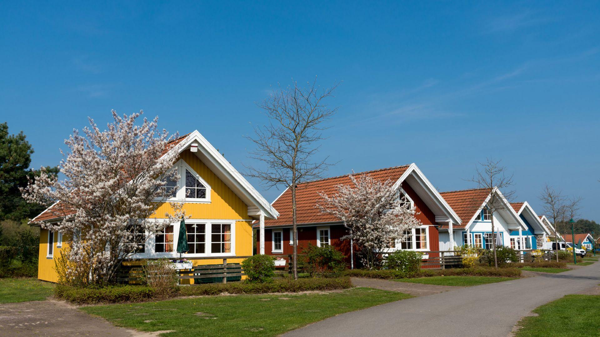 Kalifornijskie bungalowy w ciekawych barwach. Fot. S hutterstock