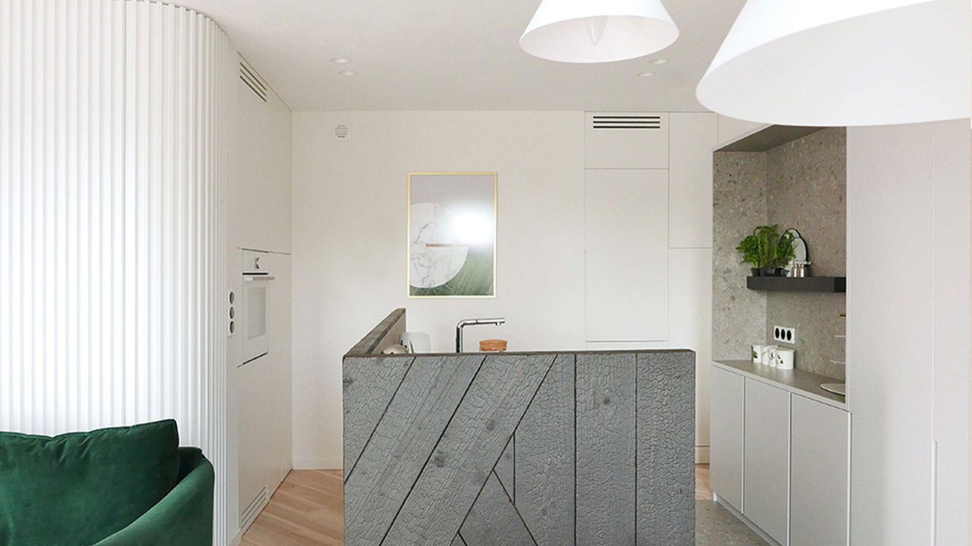 W projekcie części dziennej mieszkania w Tychach kuchnię potraktowano ze szczególnym pietyzmem. Projekt: Aleksandra Pater-Bartnik. Fot. ArchOmega Studio