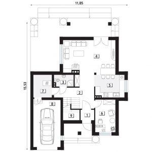 PARTER: 1. wiatrołap - 2,02 2. korytarz/komunikacja - 12,95 3. łazienka - 3,17 4. salon + jadalnia - 25,57 5. kuchnia - 9,58 6. pokój - 9,49 7. kotłownia - 6,04 8. garaż - 18,54