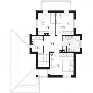 PIĘTRO: 1. korytarz/komunikacja - 8,88 2. garderoba - 5,34 3. pokój - 11,76 4. pokój - 12,09 5. łazienka - 8,21 6. pokój - 16,46