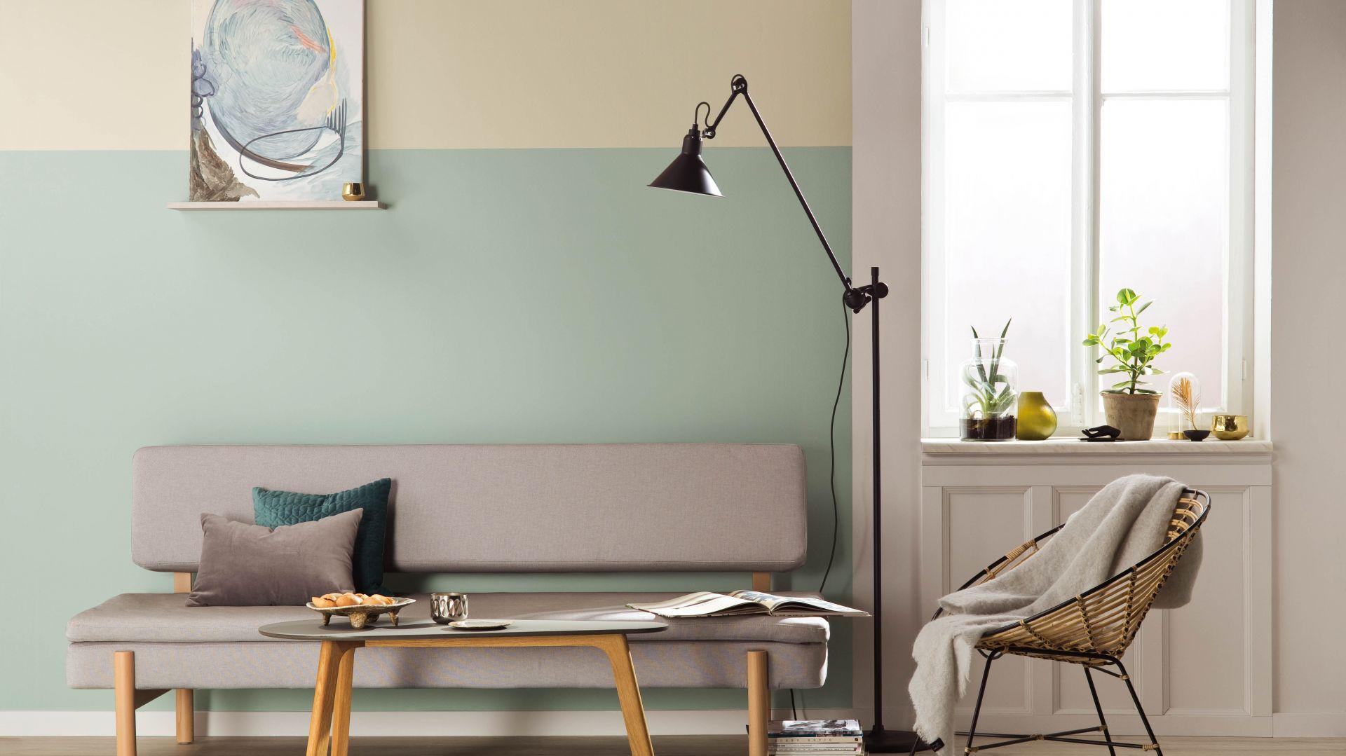 Skandynawskie wnętrze - pomysł na ścianę: farba Designer Collection kolory Flow, Trust, Shade.